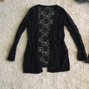 Sheer Black Lace Cardigan
